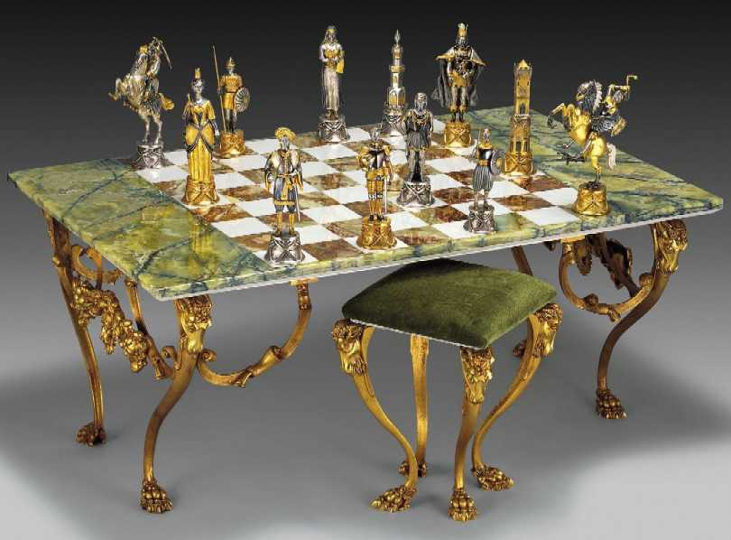 Charlemagne Luxury Chess Set Made In Gold And Silver And Bronze