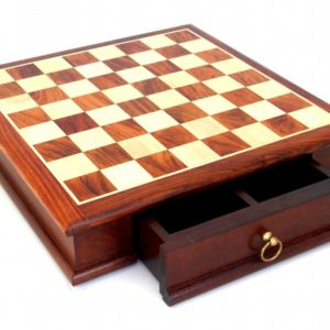 Rare Wooden Chessboard With Drawer (Square 1,5 Inch)