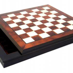 Walnut And Maple Wooden Chessboard With Box For Pieces Inside