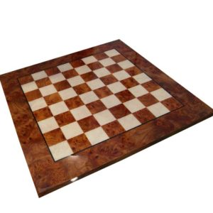 Briar Elm Wood Chessboard, Glossy Finish (Square 1,5 Inch)