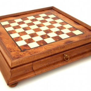 Briar Elm Wood Chessboard With Wooden Drawer (Square 1,5 Inch.)