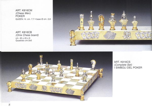 The Poker Signs Complete Chess Set(Board And Pieces)